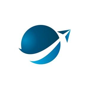 旅游公司logo设计--地球飞机logo图标素材下载