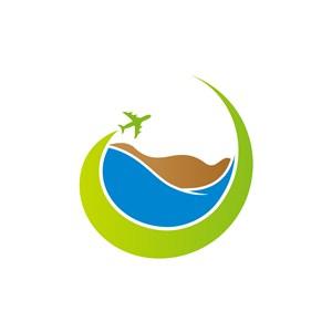 旅游行业logo设计-绿色旅行度假矢量logo图标素材下载
