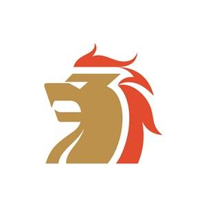 金融機構logo設計--獅子側面圖像logo圖標素材下載