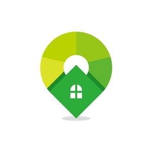 网络科技定位logo设计-绿色房子矢量logo图标素材下载