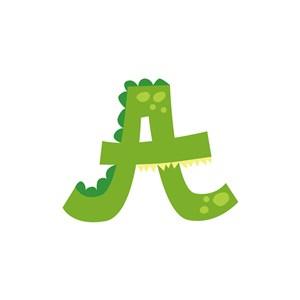 绿色鳄鱼字母A卡通动物矢量logo图标素材下载