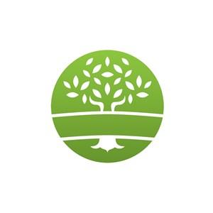 环保公益logo设计-绿色大树圆形矢量logo图标素材下载