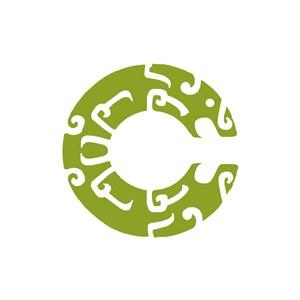 綠色抽象字母C矢量青銅幣logo圖標素材下載