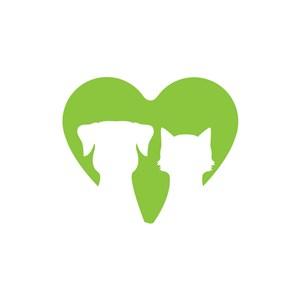 动物收容所logo设计-绿色爱心猫狗logo图标素材下载