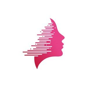 美容logo设计--女人图像侧脸logo图标素材下载