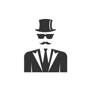 男士服装logo设计--绅士图像logo图标素材下载