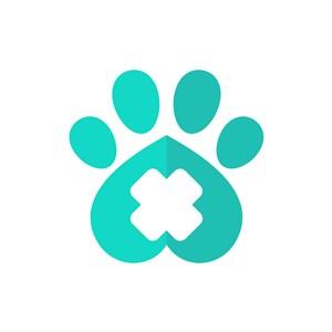宠物医院logo设计--脚印十字logo图标素材下载