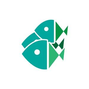 海鲜产品logo设计--抽象鱼logo图标素材下载