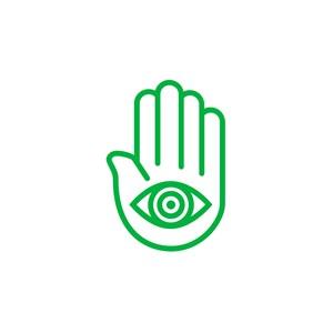 瑜伽logo设计--手掌眼睛logo图标素材下载