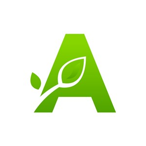 运动休闲logo设计--字母A叶子logo图标素材下载