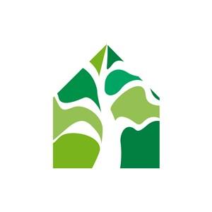 家居地产logo设计-绿色树房子矢量logo图标素材下载