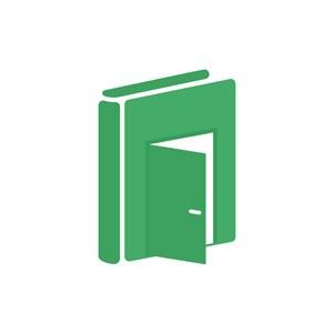 教育机构logo设计-绿色书本教育之门矢量logo图标素材下载