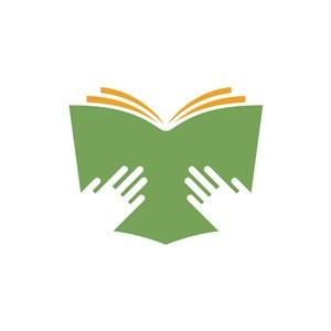 教育机构logo设计-绿色书本教育读书logo图标素材下载