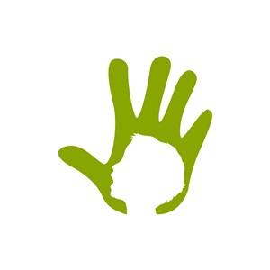 教育机构logo设计-绿色手矢量logo图标素材下载
