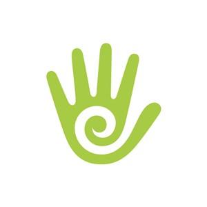 绿色手螺旋矢量logo图标素材下载