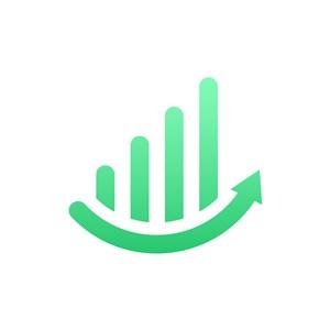 金融机构logo设计-绿色曲线增长矢量logo图标素材下载