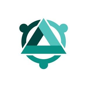 绿色三角圆环矢量logo图标素材下载
