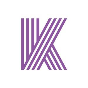 条纹英文字母K标志设计素材下载