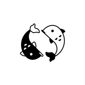 设计传媒logo设计--双鱼logo图标素材下载