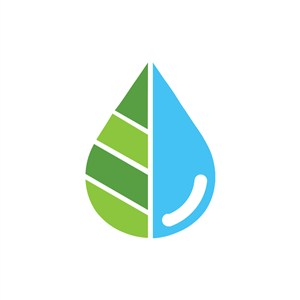家居地产logo设计--树叶与水滴logo图标素材下载