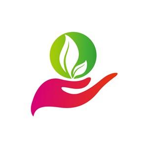 环保logo设计--手树叶logo图标素材下载