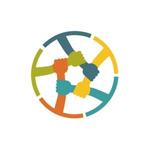 运动休闲logo设计--手团结logo图标素材下载