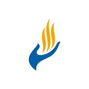 设计传媒logo设计--手火焰logo图标素材下载