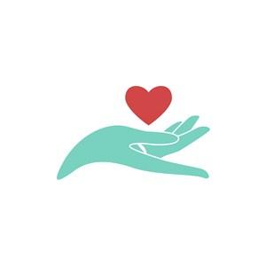 美容医疗logo设计--手和爱心logo图标素材下载