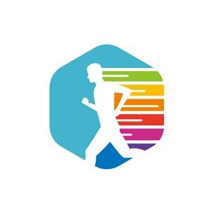 运动品牌logo设计--速跑人形logo图标素材下载