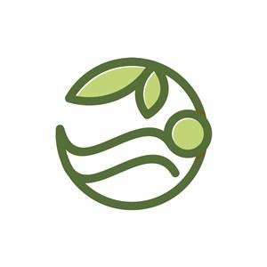 家居地产logo设计--树叶圆形logo图标素材下载