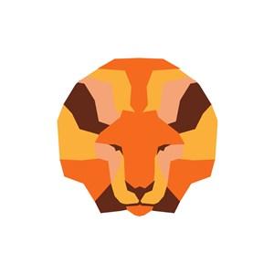 设计传媒logo设计--几何化狮logo图标素材下载