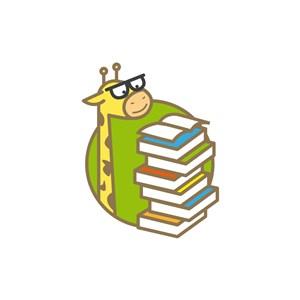 绿色卡通长颈鹿书本矢量logo图标素材下载