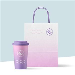 咖啡店手提袋设计样机