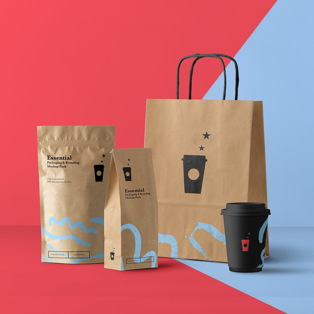 咖啡店咖啡包装设计样机贴图