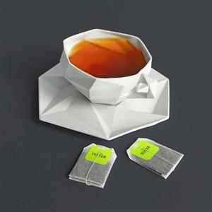 茶包贴图样机带茶杯