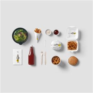 餐廳食品VI樣機模板