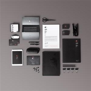 黑色调高档企业vi样机模板贴图