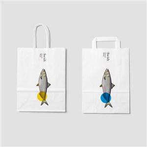 海鲜餐厅vi手提袋样机模板
