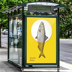 海鲜餐厅vi户外广告灯箱样机模板
