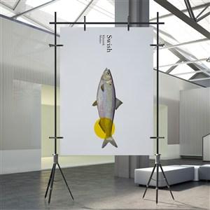 海鮮餐廳vi海報樣機貼圖