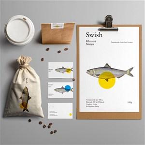 海鲜餐厅vi样机贴图素材