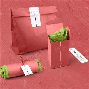 文化衫红色包装袋标签样机