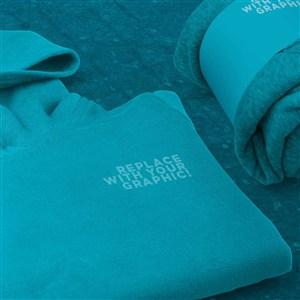 藍色連帽衫包裝標簽樣機