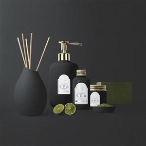 黑色spa精油瓶子包装贴图样机