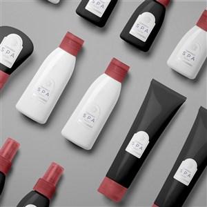 spa精油瓶子包装贴图样机
