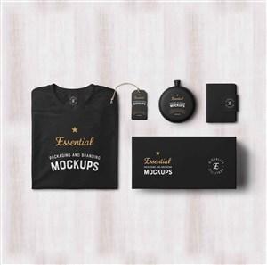 黑色T恤笔记本标签包装样机