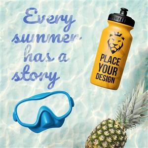 创意夏季游泳潜水眼镜水壶设计样机