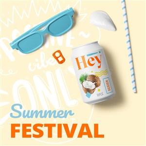 创意夏天休闲饮料眼镜设计样机模板