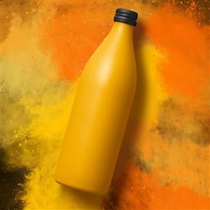 创意橙色饮料瓶包装设计样机