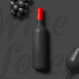 创意红酒瓶包装设计样机